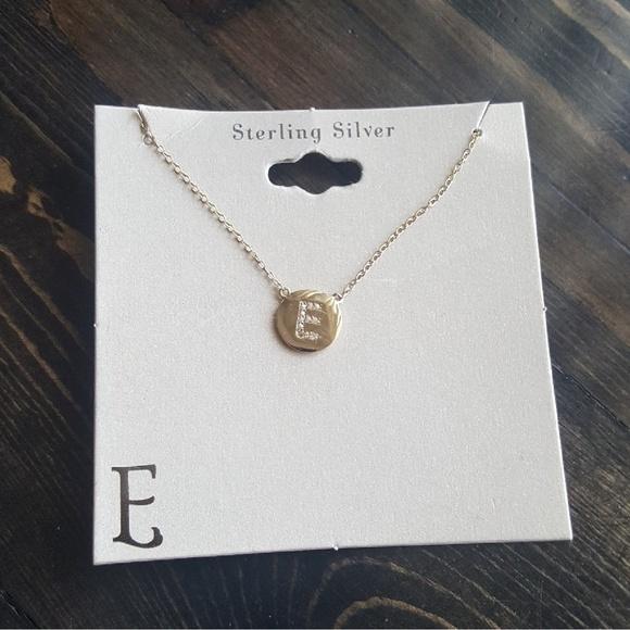 197fa636b72ca Letter E Gold Sterling Silver Necklace